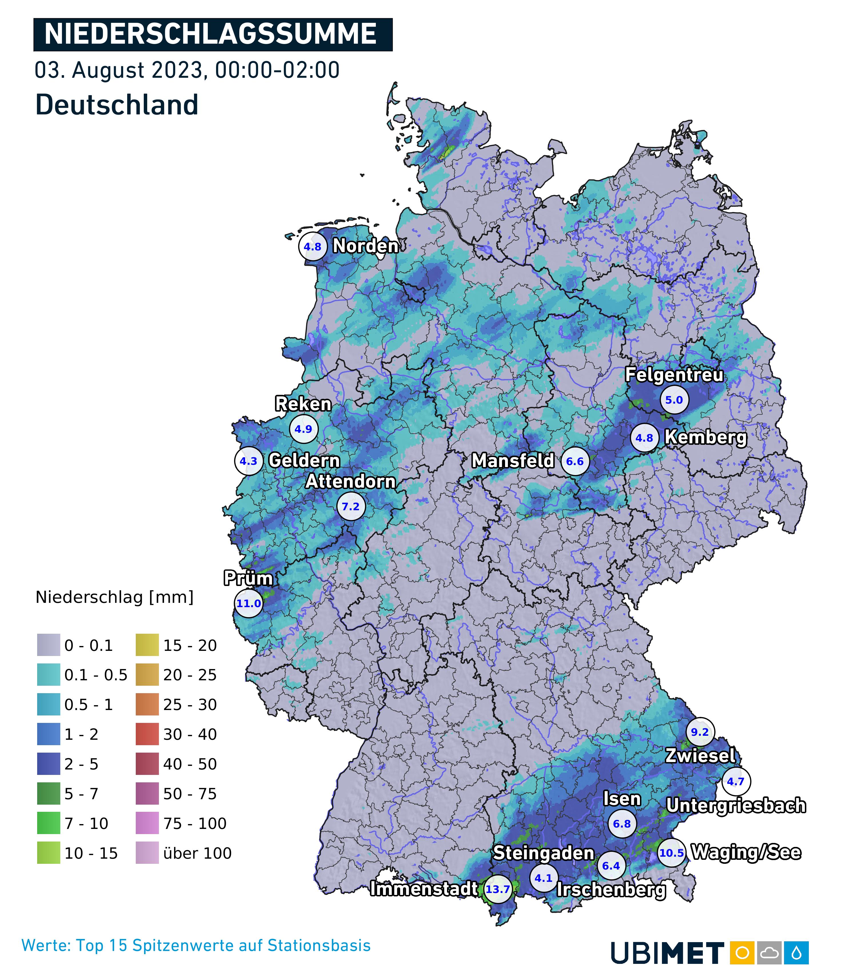 Niederschlagssumme durch Regen und Schnee in Deutschland heute.