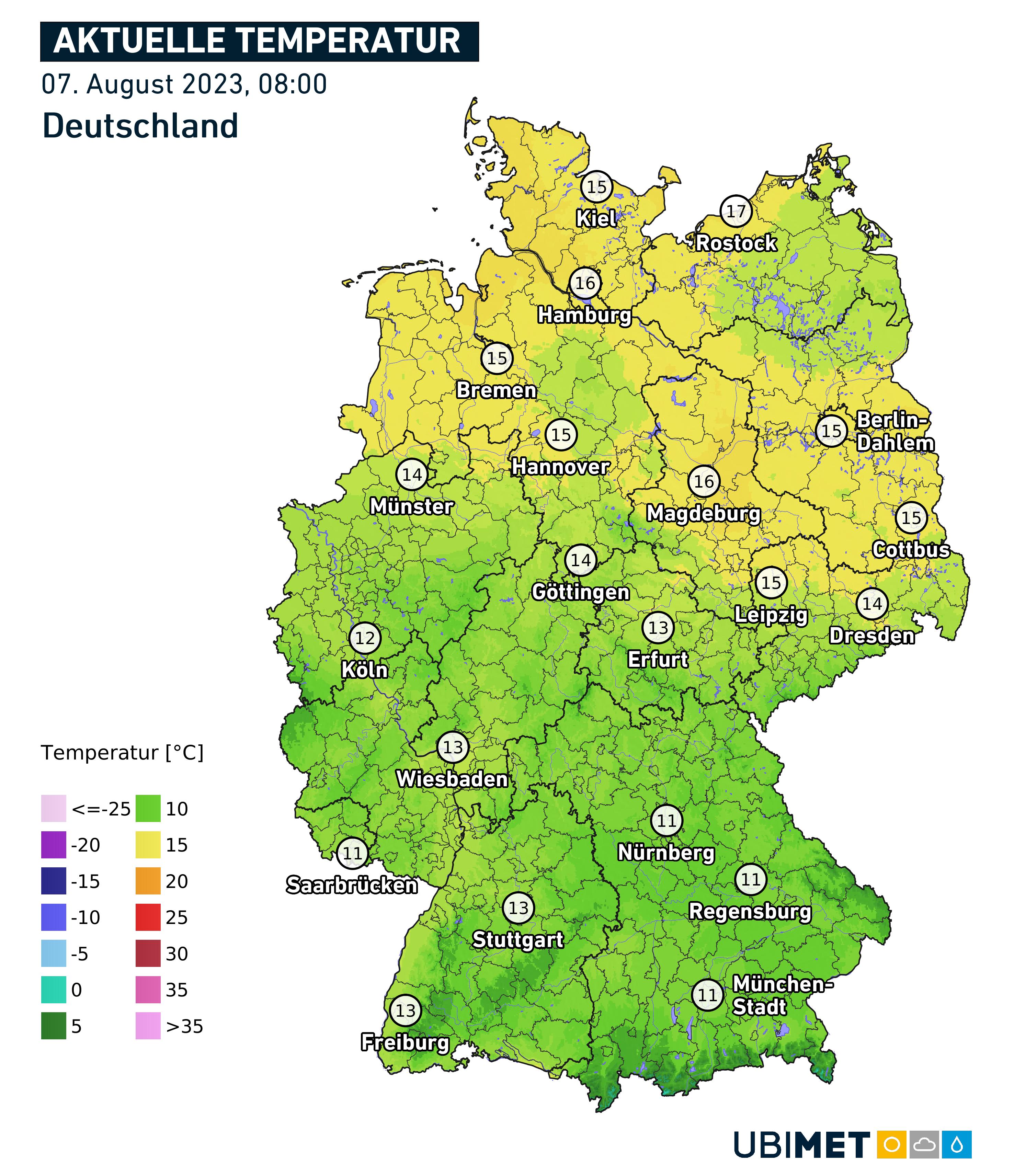 Aktuelle Temperatur in Deutschland in Berlin, Köln, Hamburg oder auch München.