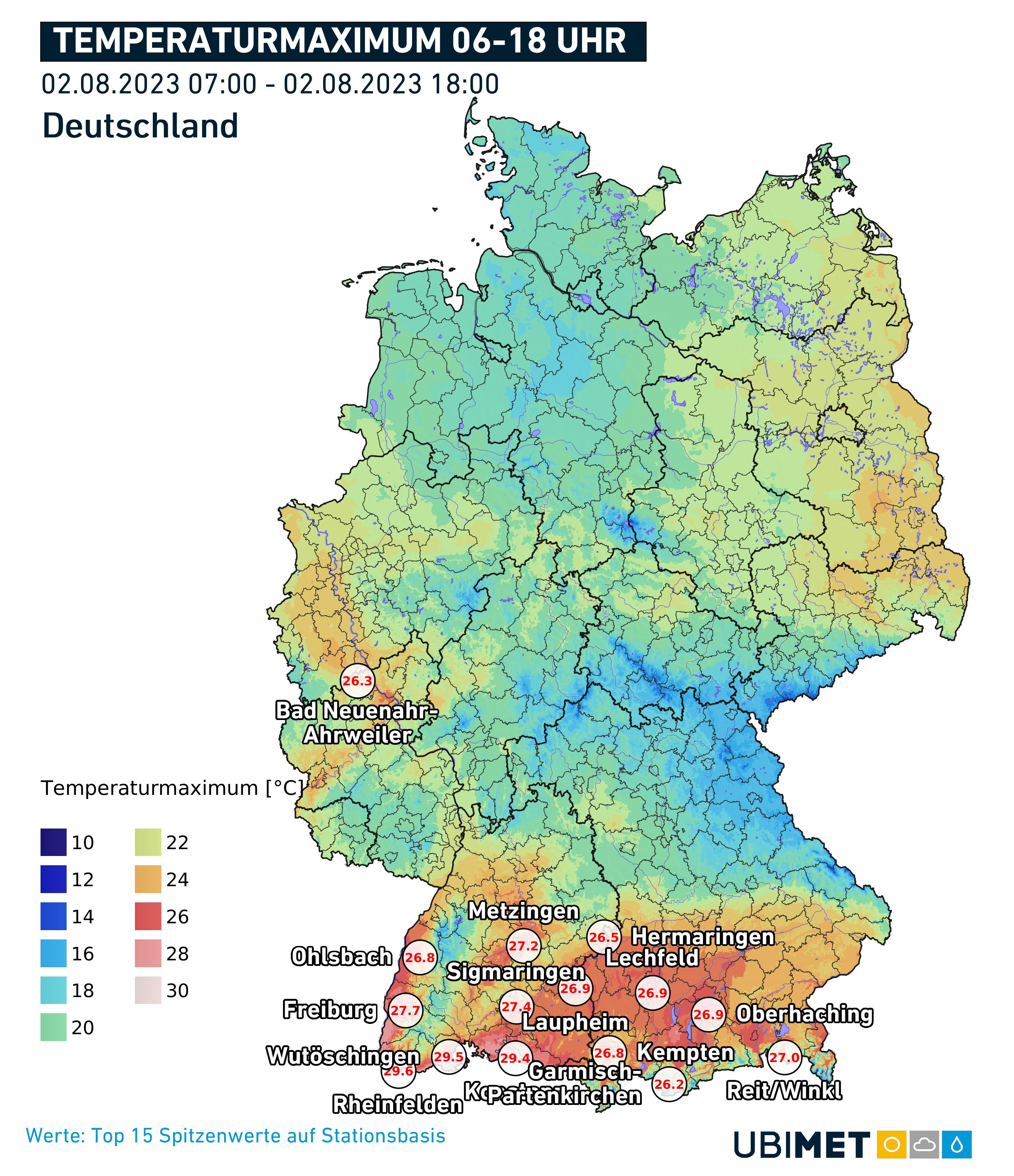 Temperatur Höchstwerte Deutschland