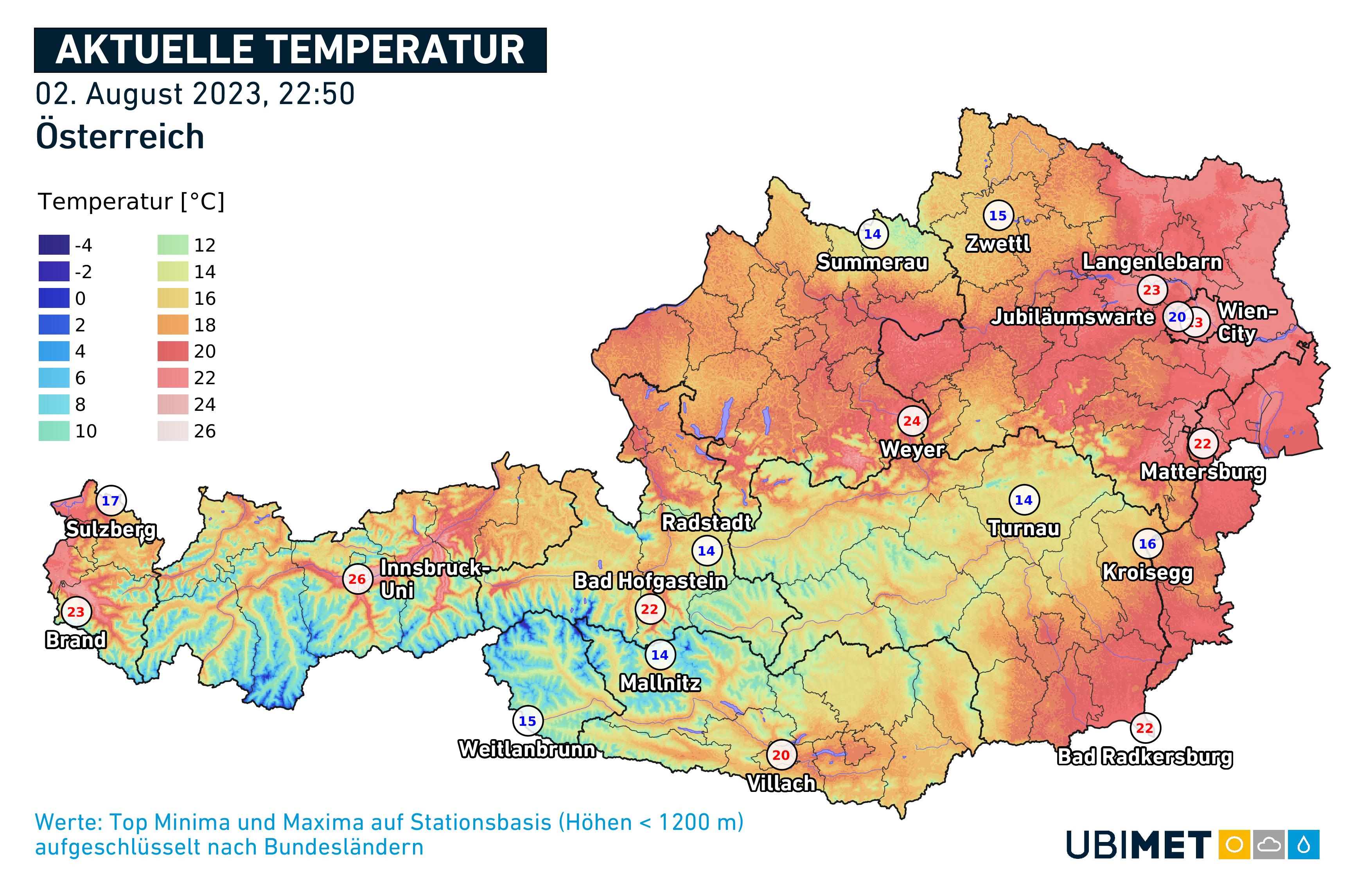 Wetter heute in Wien, Niederösterreich, Oberösterreich, Salzburg, Tirol, Vorarlberg, Kärnten, Steiermark